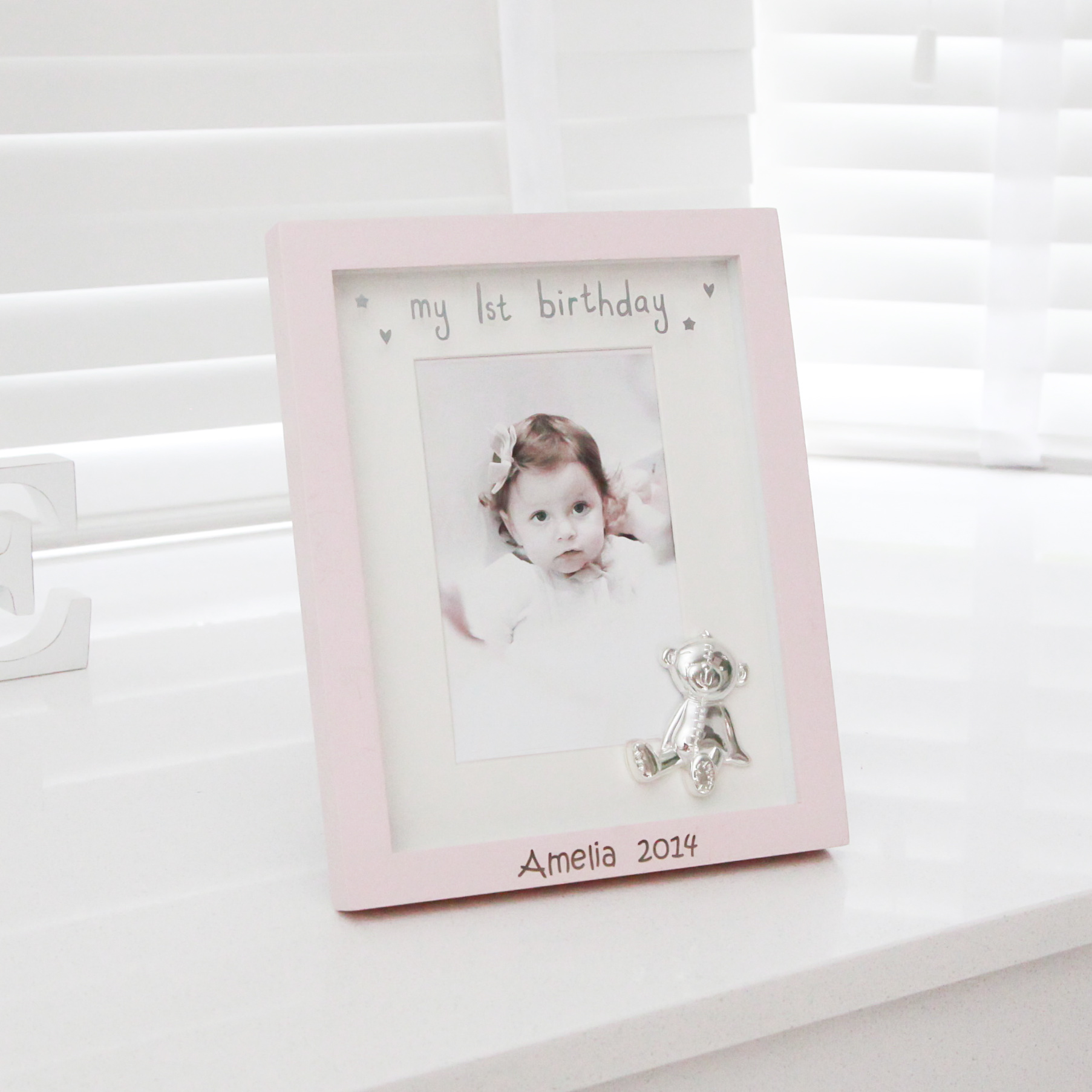 Pink 1st Birthday Frame - Children's Birthday Your Kids Bday - 1st Birthday