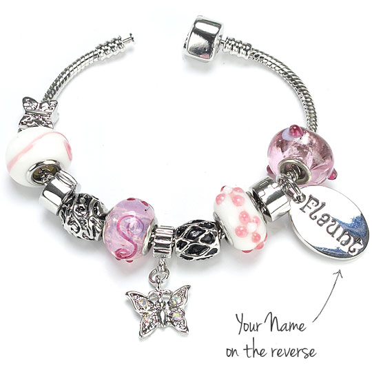 Pink Charm Bracelet - Butterfly Charm - 16th Birthday Gifts For Her