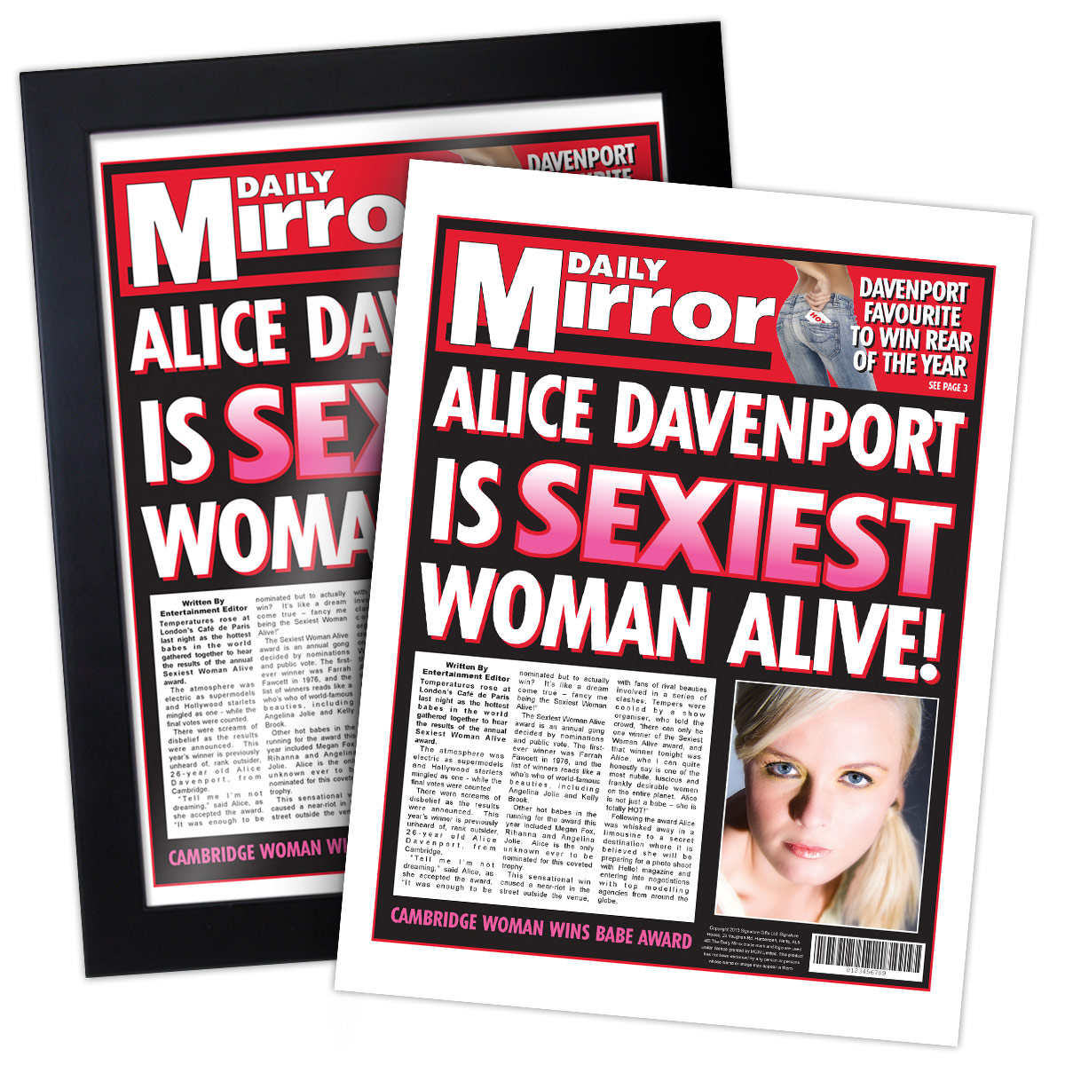 Sexiest Woman Alive Spoof Newspaper -  Birthday Your Proposal - Engagement Gifts