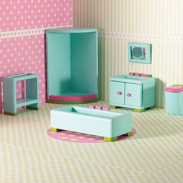The Dolls House Emporium Rainbow Bathroom Set - Children's Birthday Your Kids Bday - 6th Birthday