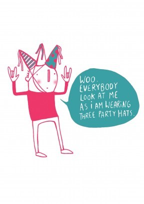 Three Party Hats| Funny Birthday Card |WB1122 - 50th gift