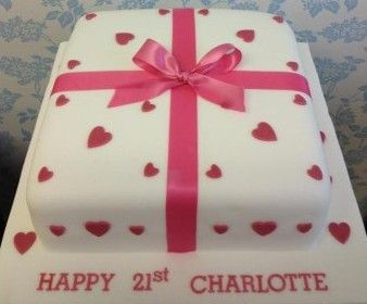 21st birthday red hearts and ribbon cake
