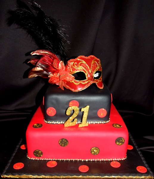 Black and red mask 21st birthday cake