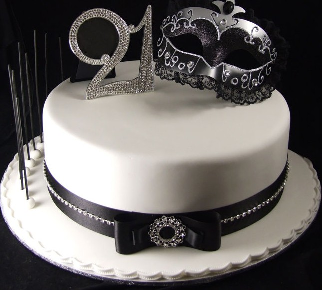 White glitzy mask 21st birthday cake