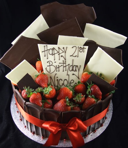 Chocolate Strawberries 21st Birthday Cake