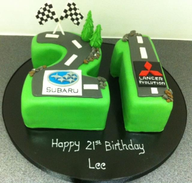 21st birthday rally car cake