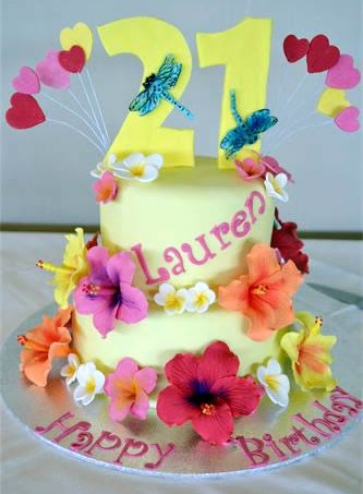 Yellow flowers and hearts 21st birthday cake