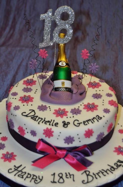 Purple Magenta Champagne Birthday Cake