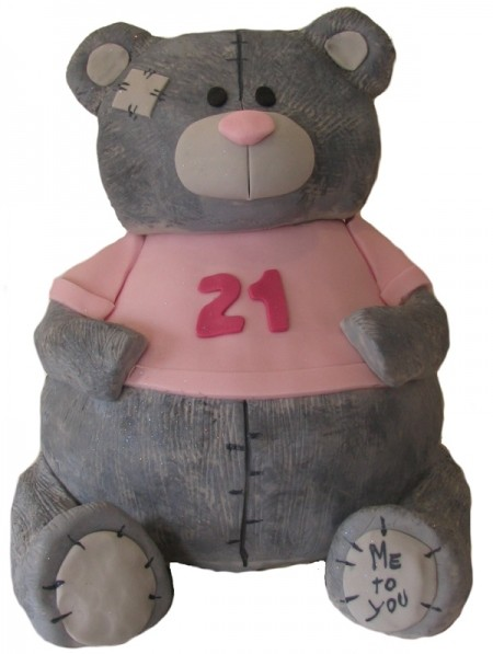 21st birthday teddy bear cake