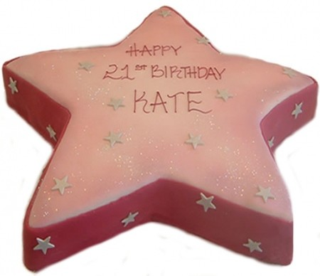 Pink 21st star cake