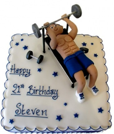 21st birthday weighlifter cake