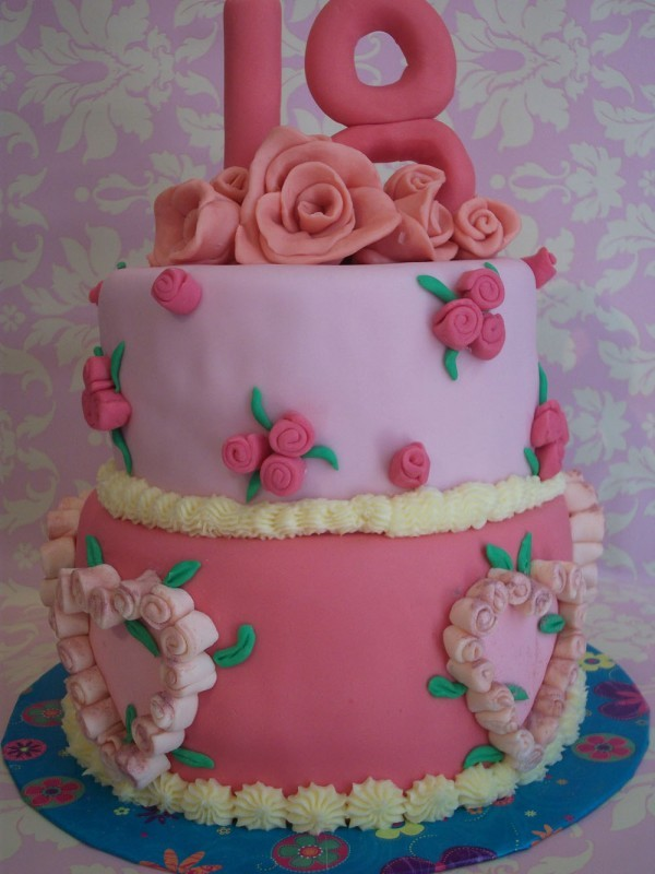 2 Tier Floral & Hearts 18th Birthday Cake