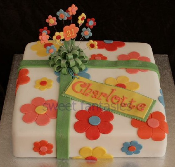 Flower power square parcel 21st cake