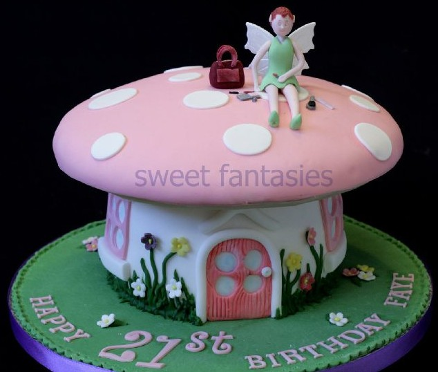 Pink toadstool and fairy 21st cake