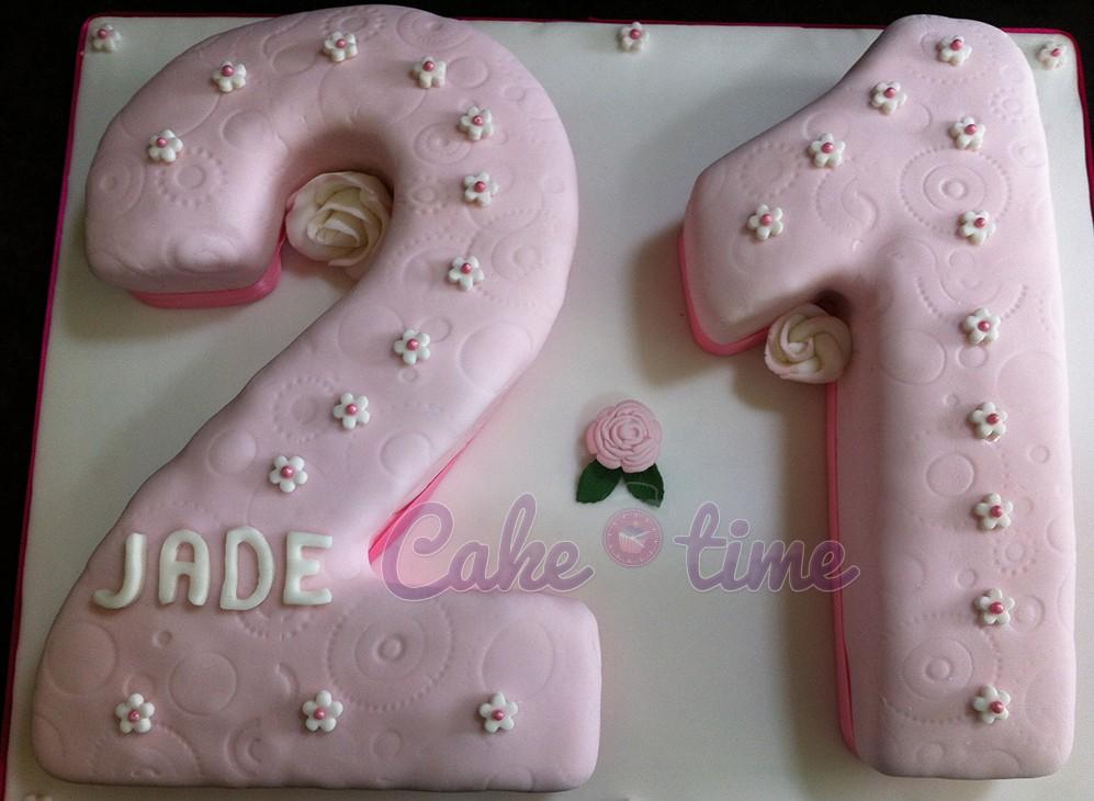 21st Pink Flower Cake