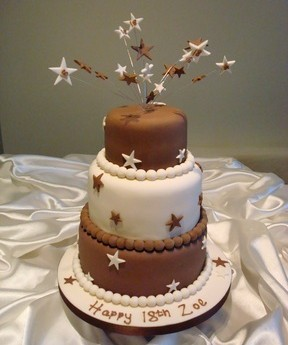 Brown & White With Stars 18th Cake