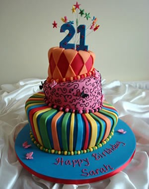 Multicolour 21st birthday topsy turvey cake