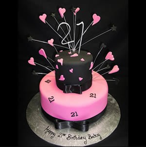 21st birthday pink and black hearts cake