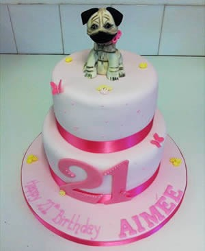 Pink puppy dog 21st birthday cake