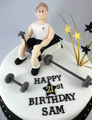 21st birthday weightlifting/bodybuilder caker