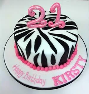 21st birthday zebra print cake