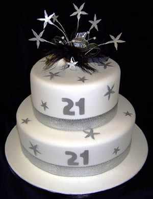 2 tier white stars 21st birthday cake