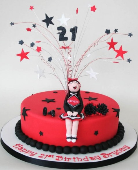 Cheerleader 21st birthday cake