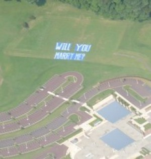Go skydiving or on a plane ride and have it written on the ground