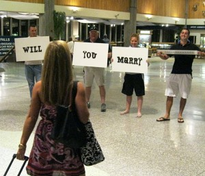 Set up your proposal when you both get off a plane