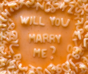Say will you marry me with spaghetti letters