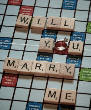 Write will you marry me in Scrabble text