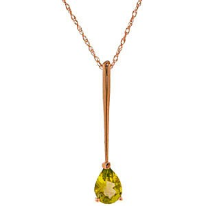 QP 14K Rose Gold Necklace with 0.65ct Peridot Pendant - 18th gift