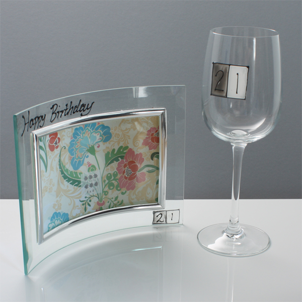 21st Birthday Photo Frame and Glass Gift Set - 21st gift