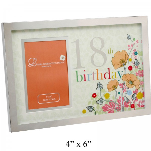 Floral 18th Birthday Photo Frame - 18th gift
