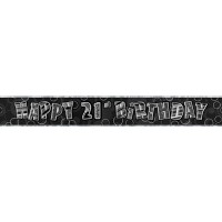 Birthday Glitz Black '21' Prismatic Banner - 3.66m - 21st gift