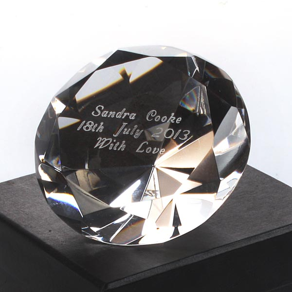 Engraved Crystal Paperweight - 50th gift