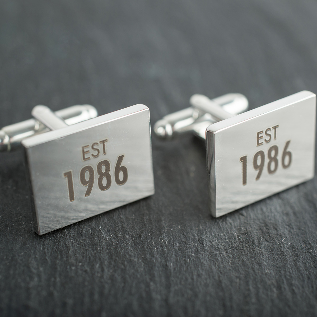 Engraved Rectangle Cufflinks - Established - 21st gift
