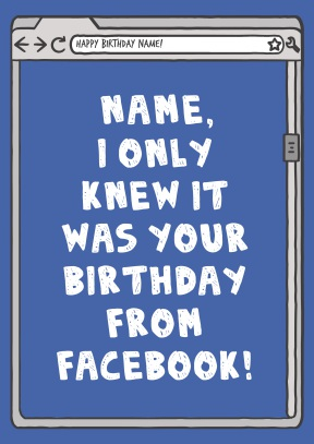 Funny Facebook Birthday Card - 21st gift