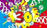 Happy 30th Birthday Cloth Flag 5ft x 3ft - 30th gift