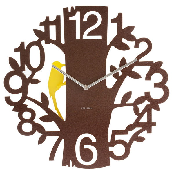 Karlsson Woodpecker Clock - Brown - 50th gift