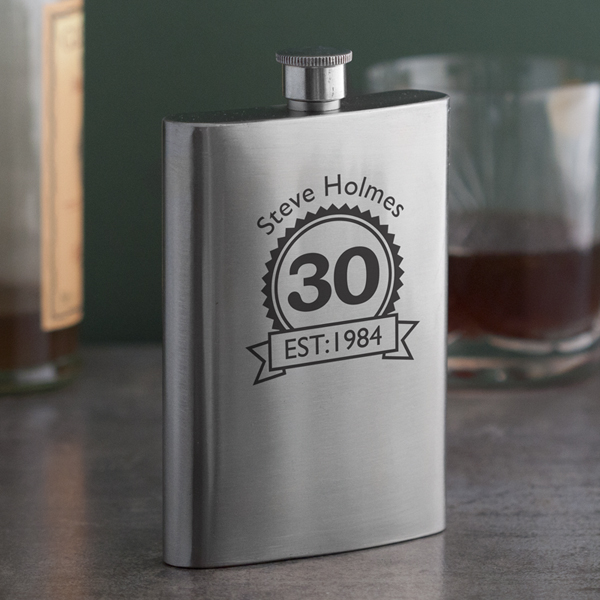 Personalised 30th Birthday Hip Flask - 30th gift