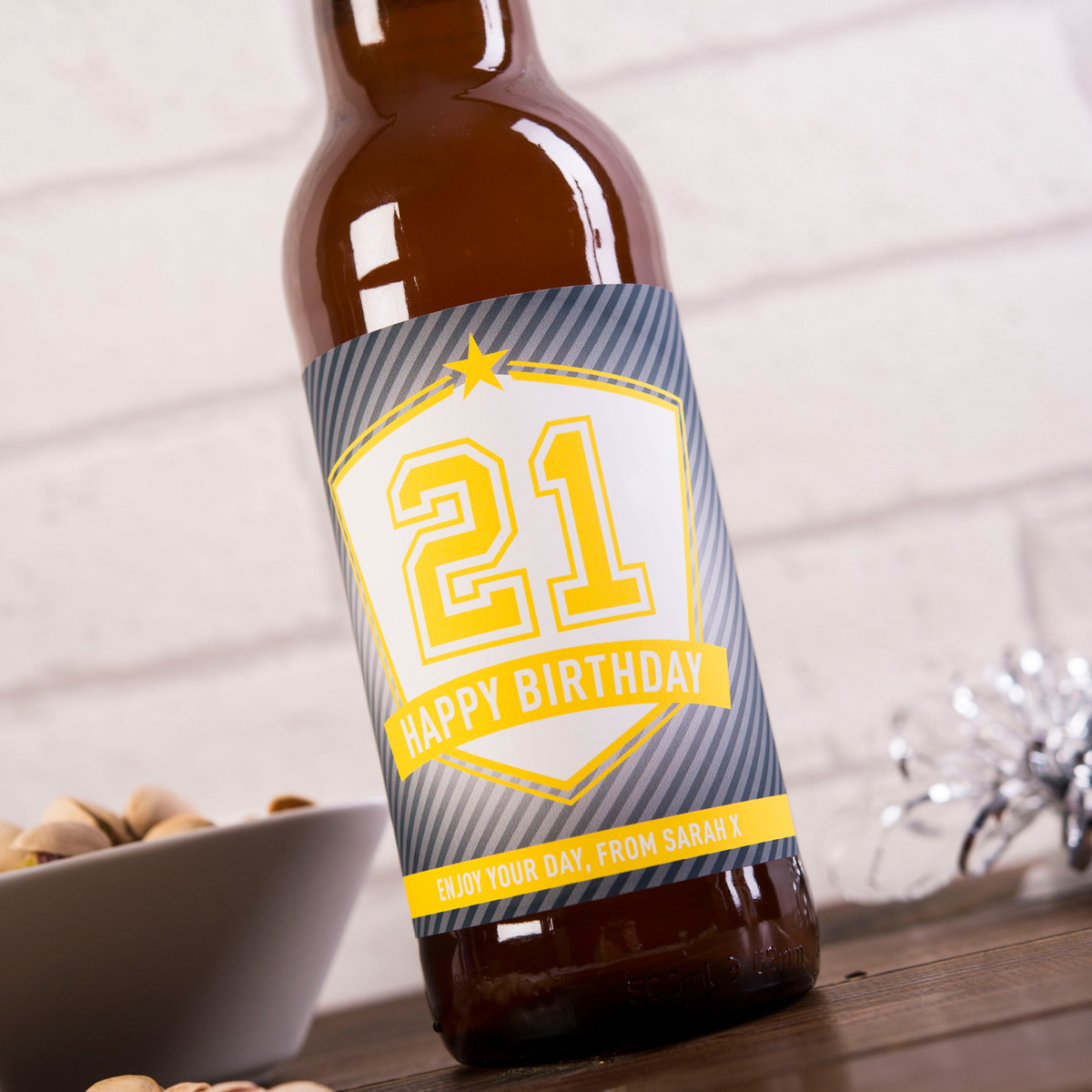 Personalised Beer - 21st Birthday Shield - 21st gift