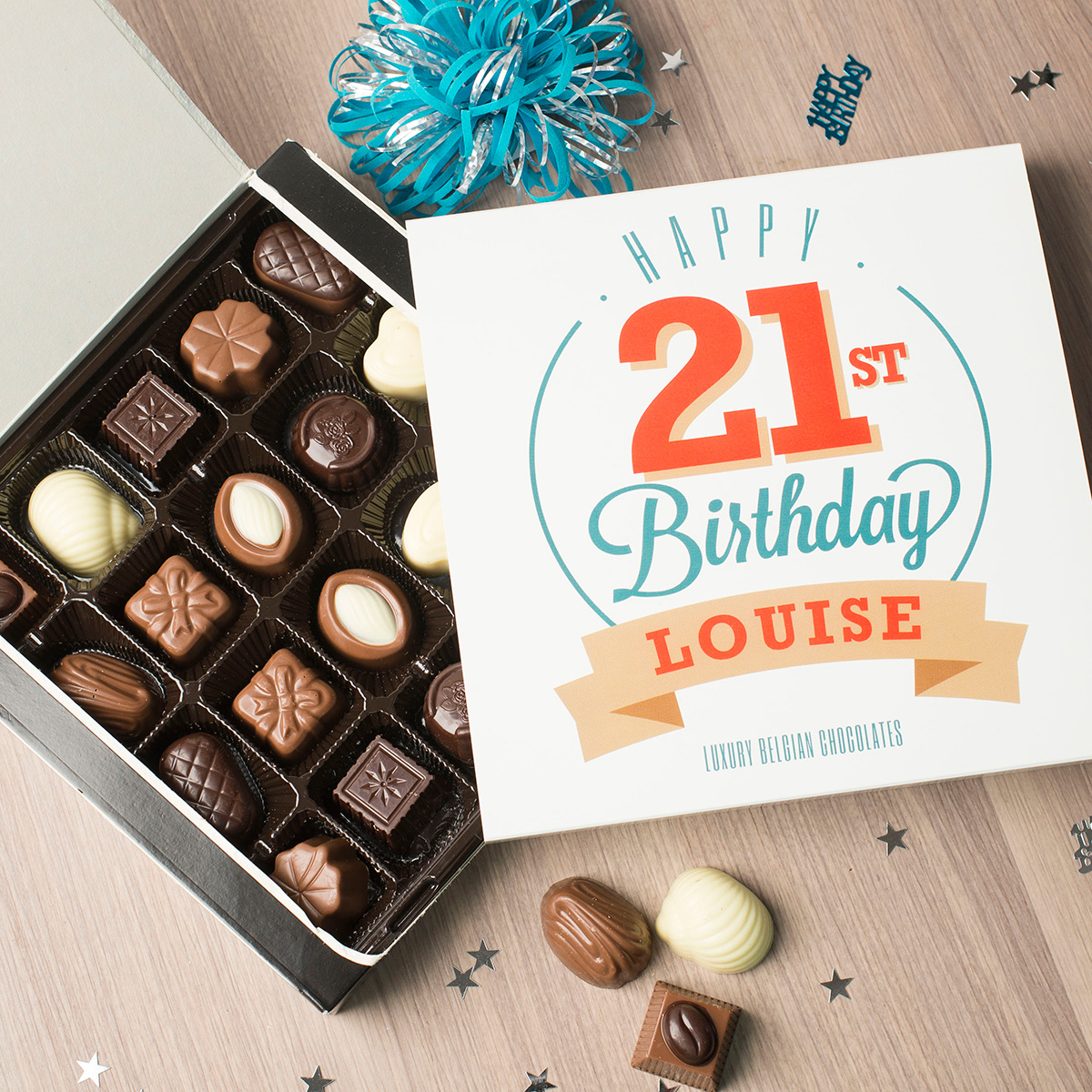 Personalised Belgian Chocolates - Happy 21st Birthday - 21st gift
