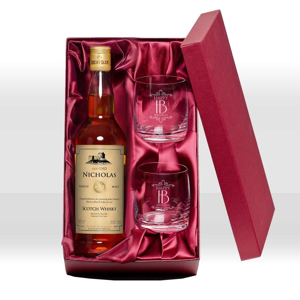 Personalised Malt Whisky & Tumblers - Happy Birthday - 50th gift