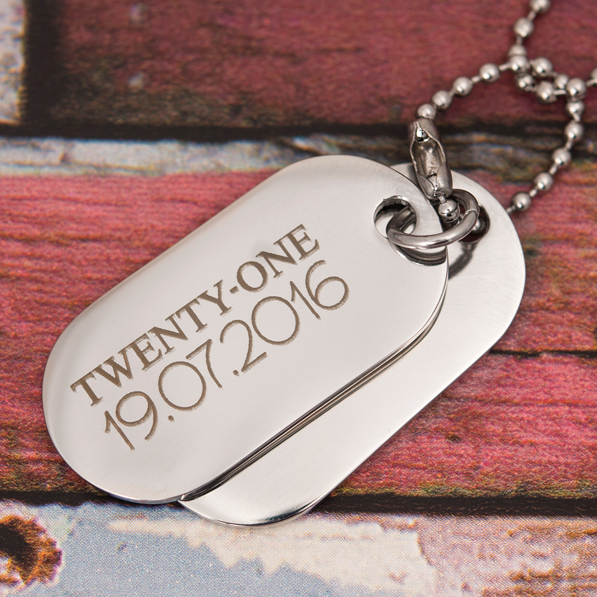 Personalised Men's Dog Tag Necklace - Twenty One - 21st gift