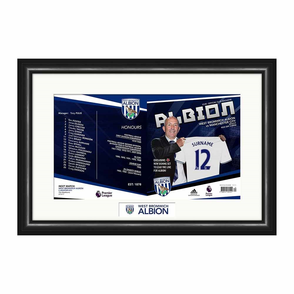 Personalised West Bromwich Albion Programme Cover - 30th gift