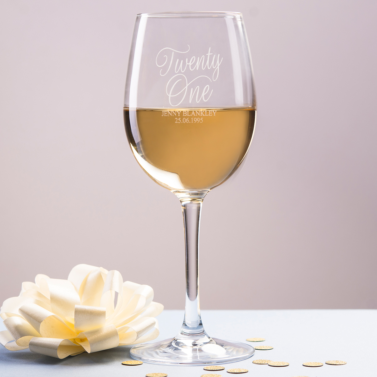 Personalised Wine Glass - Twenty One - 21st gift