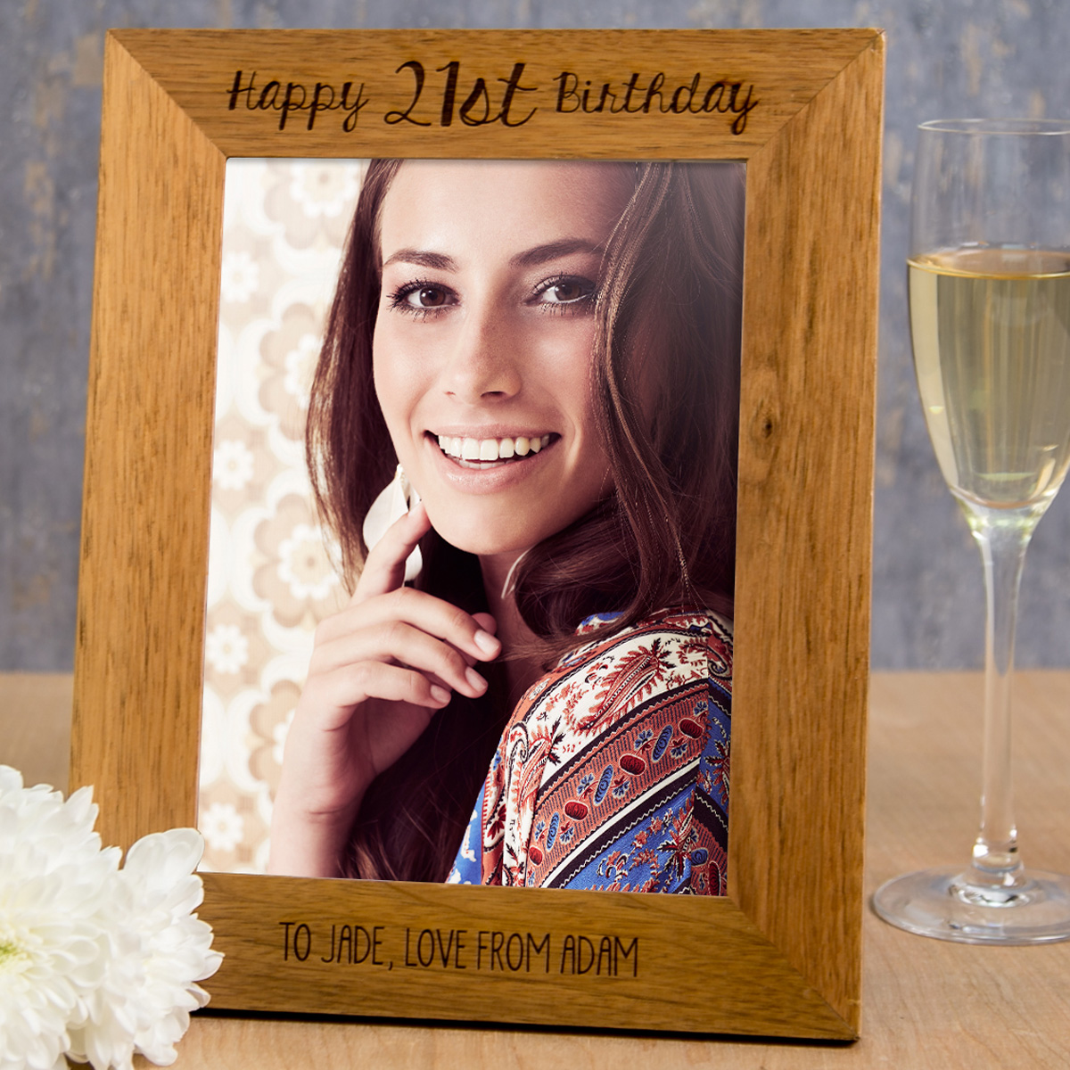 Personalised Wooden Photo Frame - Happy 21st Birthday - 21st gift
